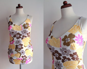 Vintage Swimsuit - Floral Swimsuit - 1970's Bathing Suit - Size S/M