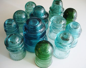 Vintage Glass Insulators, Turquoise and Green, Lot of 12, Gift for Insulator Collector