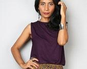 Summer Top / Sleeveless Purple T Shirt / Dark Purple Tank Top : Urban Chic Collection No.4
