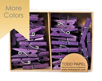 Purple colored clothespins Boxed hand dyed 1 inch mini pegs. Royal Weddings Purple tag holder or gift enclosure. Party gift embellishments