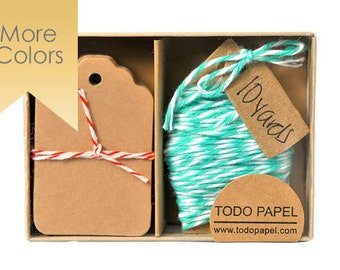 READY TO SHIP | Kraft mini tag and mint bakers twine. Choose your twine color. Kraft Tags with Twine. Color cotton floss. Party Gift Toppers