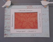 Ultrasound Frame or Mat with Bible Verse - Aqua and Orange Coral -Script & Damask - Gender Neutral 5x7