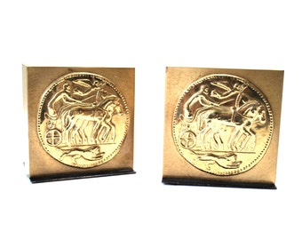 Heavy Metal Bookends With Chariot, Lion, & Angel