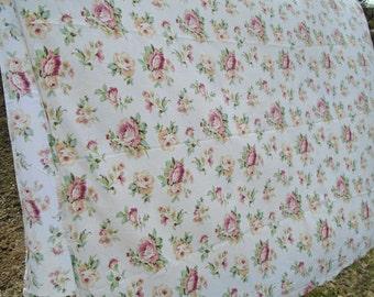 Vintage Rose Flat Sheet / Full Flat Sheet / Cotton Floral Sheet / Yellow Rose Sheet /Pink Rose Sheet / Blooming Roses / Cottage Roses /Blush