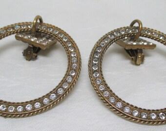 Vintage 70s YSL Yves Saint Laurent Large Rhinestone Hoop Earrings