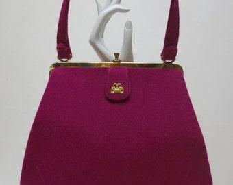 INGBER Vintage 40s BISHOP's Purple Wool Purse w/Tag