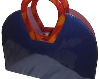 Vintage 50s BOBBIE JEROME Large Blue Patent Handbag with Horseshoe-shaped Bakelite or Lucite Handles MOD