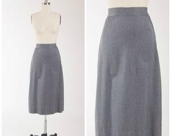 40s Vintage Skirt • Charming Career • Grey Vintage 1940s Pencil Skirt Size Small