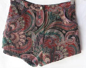 Mid rise tailored paisley velvet high waist shorts