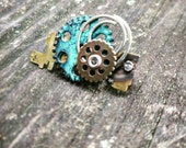 Steampunk Oxidized Green Gear Brooch