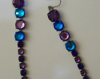 """3 Inch Crystal Bermuda Rhinestone Rope Earrings Bermuda Dangles Purple Velvet Earrings Purple Cardinal Earrings 3"""""""