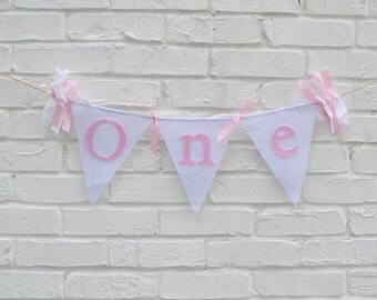 Girl ONE Banner - ONE Birthday banner - Girl Birthday Banner - Birthday Banner - 1st birthday decor - 1st birthday photo prop - pink banner