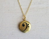 Bass Clef Music Note Gold Color Brass Locket Hand Painted by Michelle Meyer
