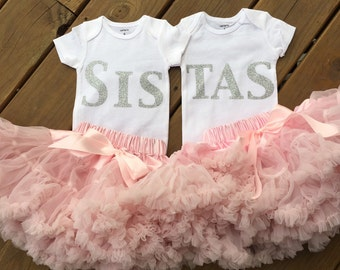 """Twin """"Sistas"""" outfit!! Sisters! Twin bodysuits and tutus!!"""