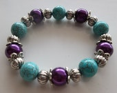 Purple Pearls- Turquoise Rounds with Metal -Texan Rodeo Cowboy-Western- Chic-Big & Bulky-Beaded Stretch Bracelet  (180)