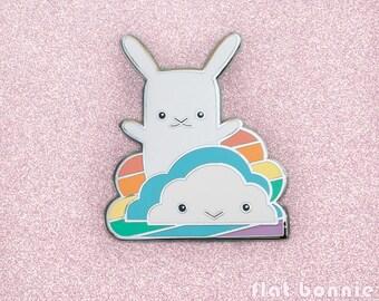 Cute rainbow cloud enamel pin, Kawaii bunny backpack pin, Metal badge jacket pin, Hard enamel animal jewelry, LGBT LGBTQ gift, Flat Bonnie