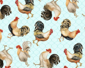 Bohemian Roosters - Blue Tossed Rooster by Daphne B from Wilmington Prints