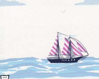 Out to Sea - Sail Away Bloom Pink by Sarah Jane from Michael Miller