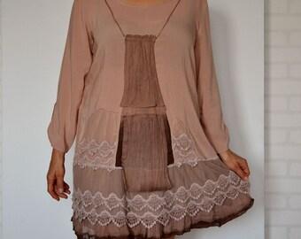 Elegant women's dress, romantic dress, salmon dress, artsy dress, boho dress, loose dress sleeves, upcycled clothing, recycled dress size L