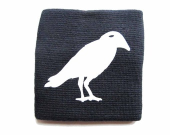 [BUNDLE] [TEX0136] Sweatband for arm warmers with zip purse Miniblings Crow Raven blue