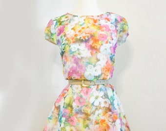 Vintage Pop Floral Party Dress