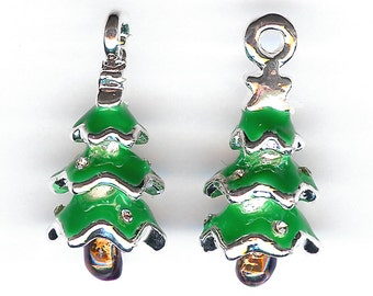 50% Off! CHRISTMAS TREE Charm. Silver Plated Enamel. 3D Evergreen. Pine. Fir. Spruce. Snow. Green