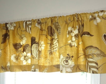 Curtain Valance Topper Window Valance 52x15 Gold & Brown Floral Valance