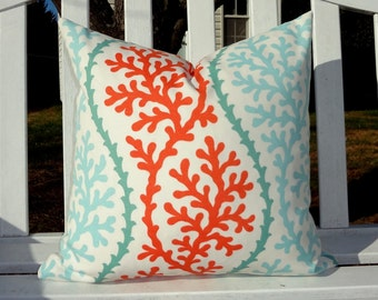 OUTDOOR Coral Blue Orange Pillow Cushion Covers Nautical Aqua Blue & Orange Coral Porch Pillows 18x18
