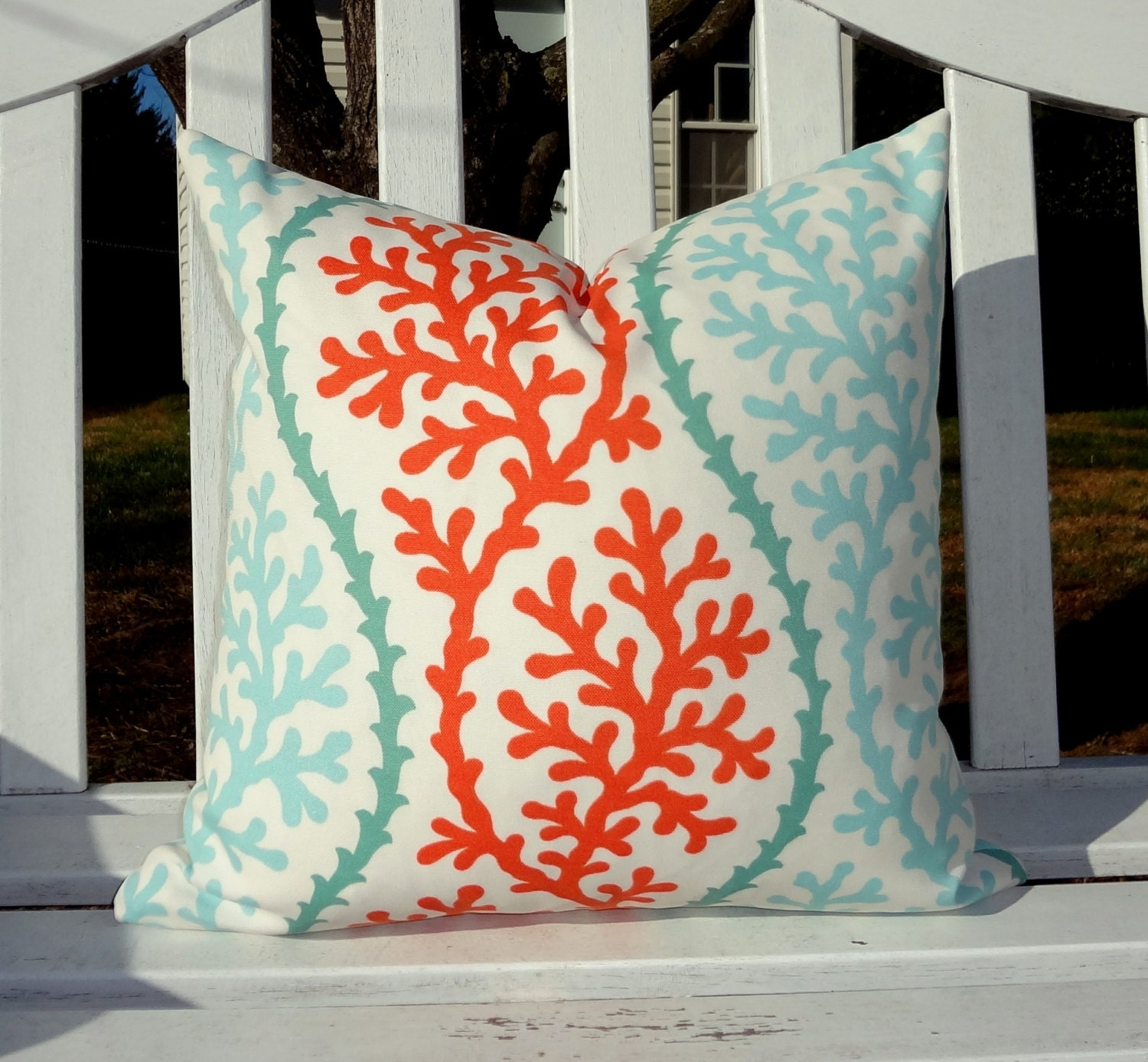 OUTDOOR Coral Blue Orange Pillow Cushion Covers Nautical Aqua