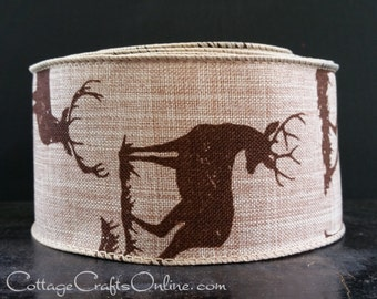 "Christmas Wired Ribbon, 2.5"" wide, Brown Deer Print on Tan Faux Linen - TEN YARD ROLL -  ""Deer Natural"" Craft Wire Edged Ribbon"