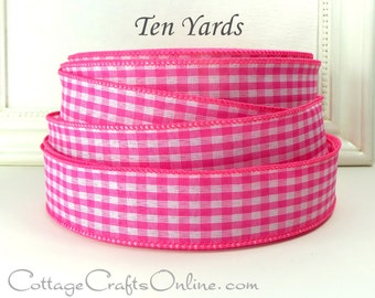 "Wired Ribbon, 1 1/2"", Pink White Gingham Check Plaid - TEN YARDS - Offray, Summer, Spring, Easter, Bright Pink Wire Edged Ribbon"