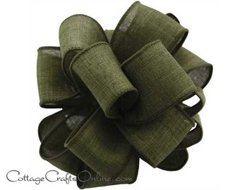 """Fall Wired Ribbon, 2 1/2"""", Moss Green Faux Linen - THREE YARDS  - Offray """"Divine"""" Thanksgiving, Wedding Ribbon, Wire Edged Ribbon"""
