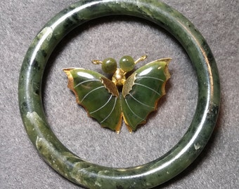 Jade Butterfly Pin and Green Stone Bangle Bracelet, Jade or Serpentine