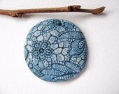 Blue Denim Lace Pendant Stoneware Clay