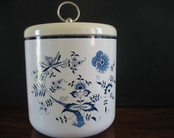 Vintage Blue Danube Ice Bucket Japan Lacquer Ware