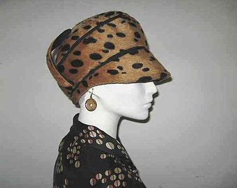 Vintage Mr. John Jr. Cheetah Leopard  Faux Fur Stacked Cloche Visor