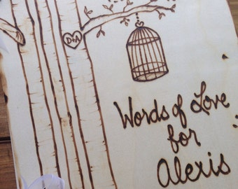 Bridal Shower Guest Book Birdcage Bird Theme Personalized with the Bride's Name and Event Date Rustic Cottage Wedding Advice for Bride