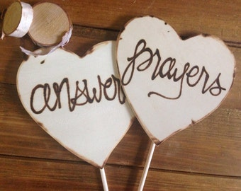 ANSWERED PRAYERS Baby Photo Props pregnant expecting Decorations Engagement Photo Shoot Wood Hearts new Baby Announcement