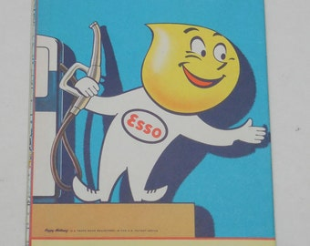 1961 Esso - Humble Oil & Refining Co Road Maps, Lithographed Vtg Road Map, General Drafting Co Inc, Arkansas, Louisana, Mississippi Road Map