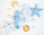 Stuffed seahorse and starfish toy nautical aquatic nursery decor toy set fish toys blue white baby shower gift child friendly soft toy