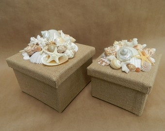 Pair of Seashell Topped Burlap Wrapped Boxes