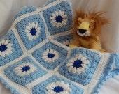 Crochet Baby Granny Square Blanket Afghan - Blue Flowers