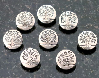 6 Silver Tree of Life Buttons Metal Buttons Black Accents 6 3 Dimensional Tree of Life Buttons