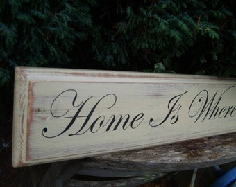 Home Is Where Our Story Begins  Vintage Shabby Chic Rustic Wooden Sign Handmade Large