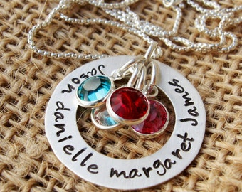 Mother's Birthstone Necklace - Mommy Necklace - Family Birthstone Necklace - Grandma and Mom Gift - Sterling Silver necklace with birthstone