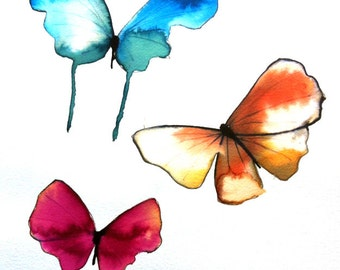 """butterfly trio red, blue, orange yellow  and white 14 x 11"""" original watercolour painting"""