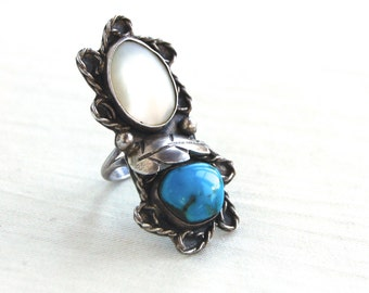 Turquoise and Mother of Pearl Ring Size 6 .75 Huge Long Vintage Boho Ring Old Pawn Southwestern Jewelry
