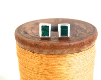 Green Rectangle Earrings Malachite Posts Studs Vintage Mexican Tiny Posts Modernist Jewelry