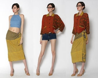 Vintage 90s Boho Two Piece Wrap Skirt Button Down Batwing Top
