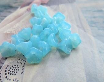 Czech Turquoise Opal Glass 6mm Tulip Flower Beads 25Pcs.